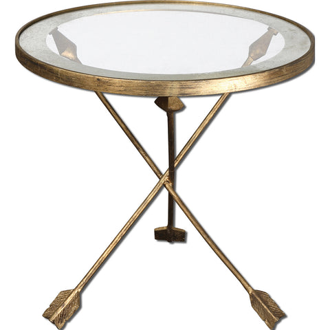 Uttermost Aero Round Glass Accent Table w/ Antiqued Gold Leaf