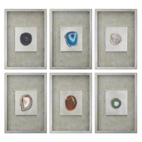 Uttermost Agate Stone Silver Wall Art - Set of 6