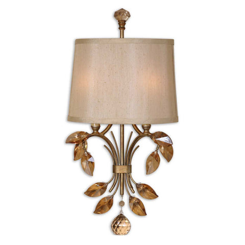 Uttermost Alenya 2 Lt Wall Sconce w/ Silken Champagne Fabric Shade