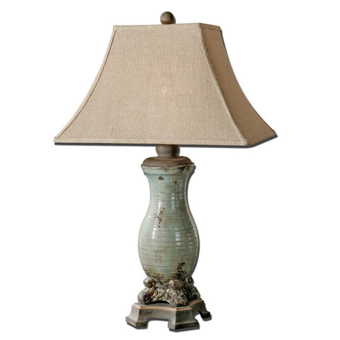 Uttermost Andelle Table Lamp w/ Burlap Linen Fabric Shade