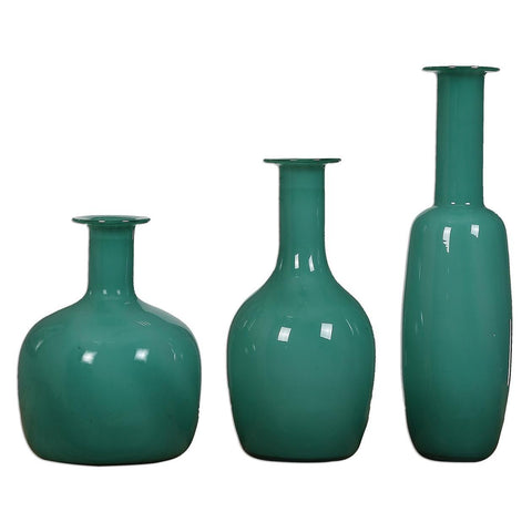 Uttermost Baram Turquoise Vases - Set of 3