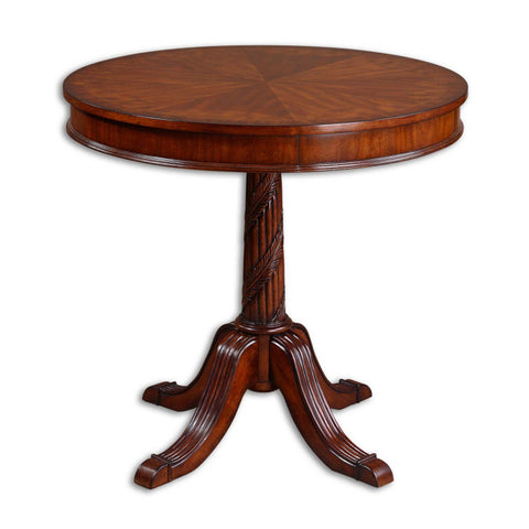 Uttermost Brakefield Round Table in Polished Pecan