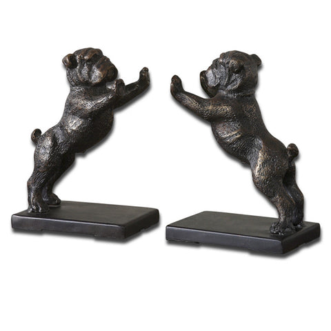 Uttermost Bulldogs 2 Iron Bookends in Distressed Golden Bronze