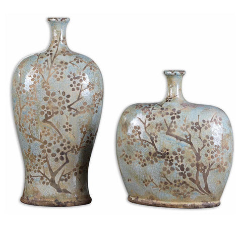 Uttermost Citrita 2 Ceramic Vases in Distressed Sea Foam Blue