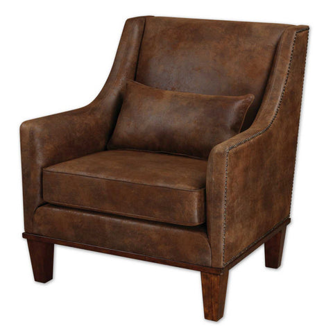 Uttermost Clay Armchair in Antiqued Brass Nail