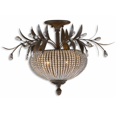Uttermost Cristal de Lisbon 3 Lt Semi Flush Mount in Golden Bronze