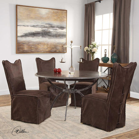 Uttermost Delroy Armless Chairs, Chocolate, Set Of 2