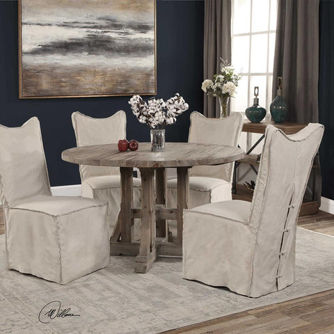 Uttermost Delroy Armless Chairs, Stone Ivory, Set Of 2