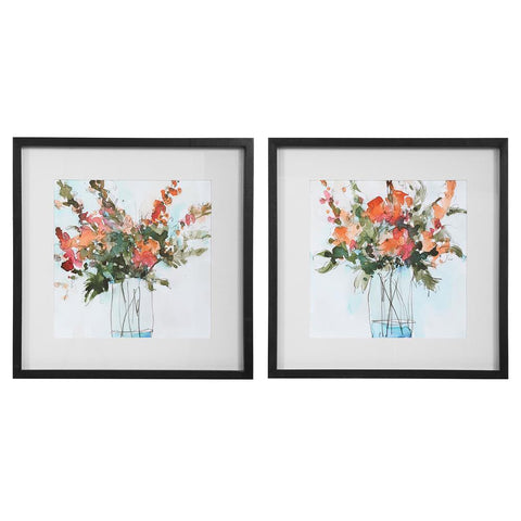 Uttermost Fresh Flowers Watercolor Prints, S/2