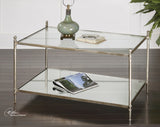 Uttermost Gannon Glass Top Coffee Table w/ Iron Frame & Mirrored Shelf