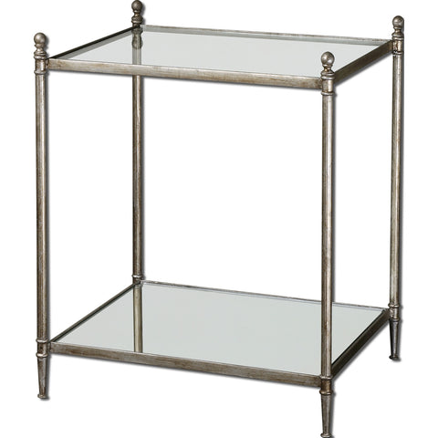 Uttermost Gannon Glass Top End Table w/ Iron Frame & Mirrored Shelf