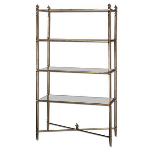 Uttermost Henzler Etagere w/ Iron Frame & Glass Shelves