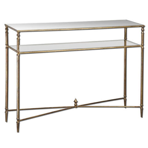 Uttermost Henzler Mirror Top Console Table w/ Iron Frame & Glass Shelf