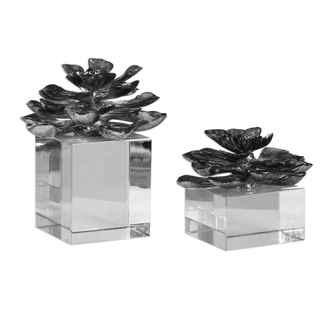 Uttermost Indian Lotus Metallic Silver Flowers - Set of 2