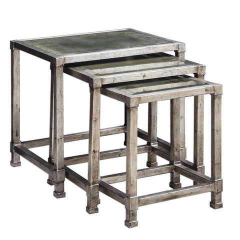 Uttermost Keanna Antiqued Silver Nesting Tables - Set of 3