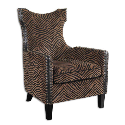 Uttermost Kimoni Armchair in Plush Golden Brown & Black Stripes