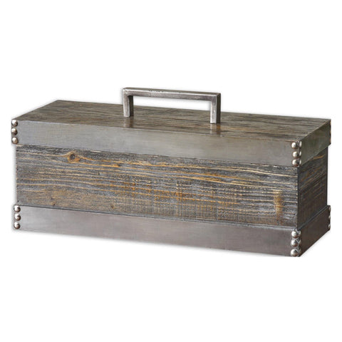 Uttermost Lican Box in Natural Wood w/ Silver accents