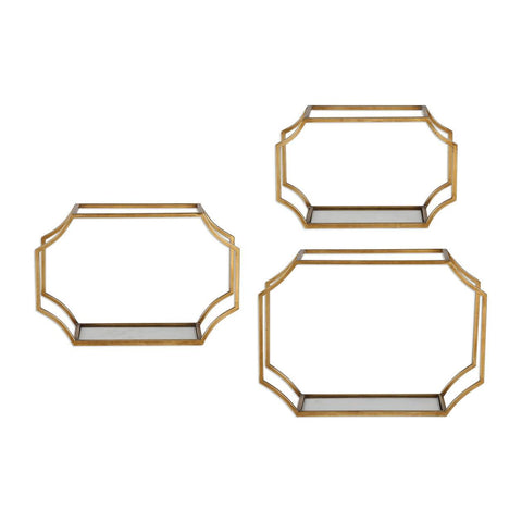 Uttermost Lindee Gold Wall Shelves - Set of 3