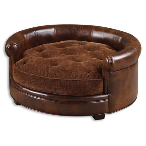 Uttermost Lucky Pet Bed w/ Russet Brown Cushion