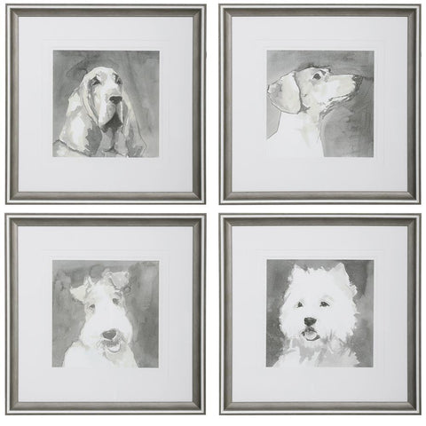 Uttermost Modern Dogs Framed Prints, S/4