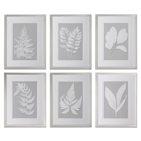 Uttermost Moonlight Ferns 6 Framed Art Panels