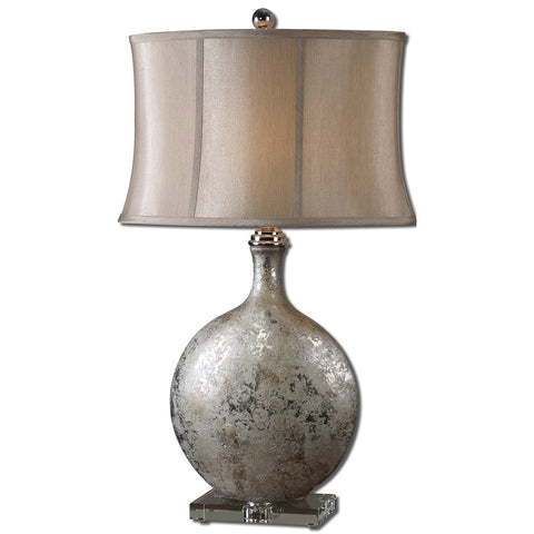 Uttermost Navelli Table Lamp w/ Semi-Bell Shade in Champagne Bronze