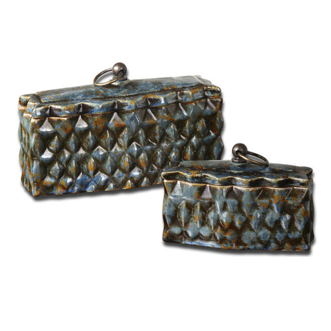 Uttermost Neelab 2 Ceramic Containers in Distressed Pale Blue & Brown
