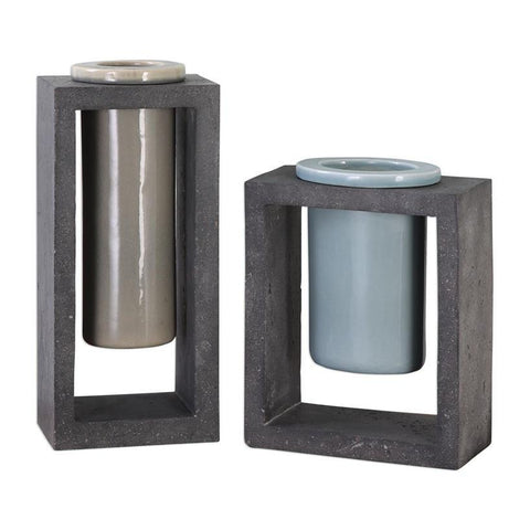 Uttermost Pio Industrial Ceramic Vases - Set of 2