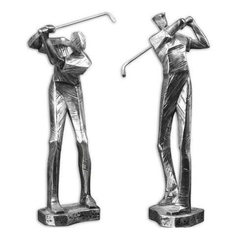 Uttermost Practice Shot 2 Statuettes in Metallic Silver