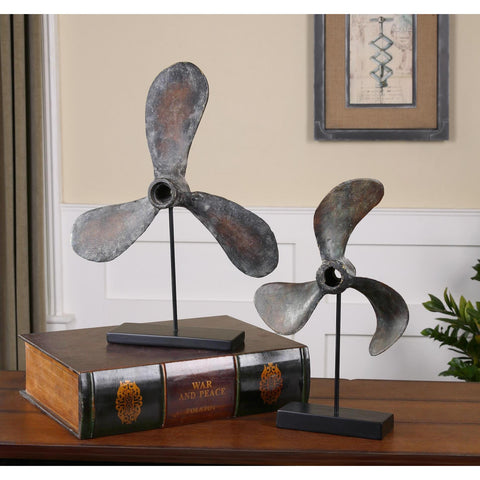 Uttermost Propellers Rust Sculptures Set Of 2