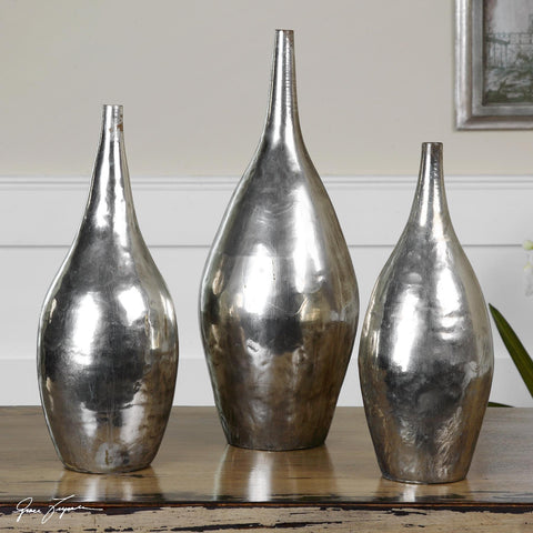 Uttermost Rajata Silver Vases Set Of 3