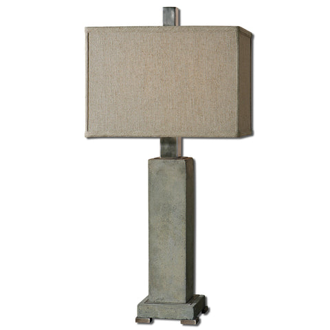Uttermost Risto Table Lamp w/ Rectangle Box Shade in Oatmeal Linen