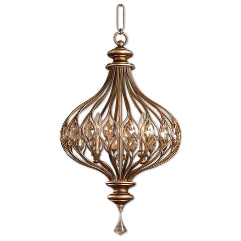 Uttermost Sabina 3 Lt Pendant in Burnished Gold Metal