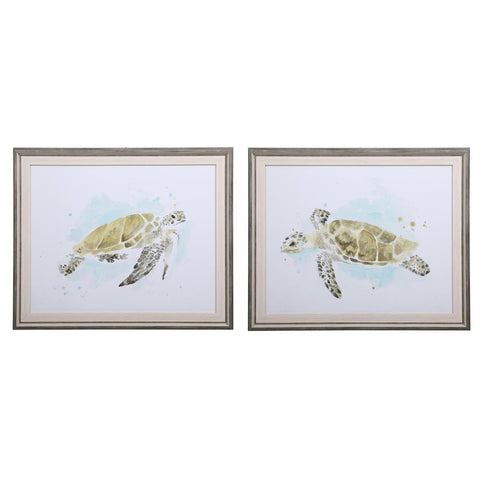 Uttermost Sea Turtle Study Watercolor Prints, S/2
