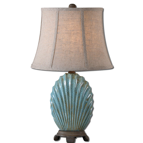 Uttermost Seashell Table Lamp w/ Oval Bell Shade in Khaki Linen