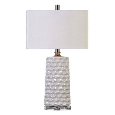 Uttermost Sesia White Honeycomb Table Lamp