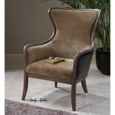 Uttermost Snowden Tan Wing Chair