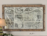 Uttermost Treasure Map Framed Panel w/ Medium Brown Frame