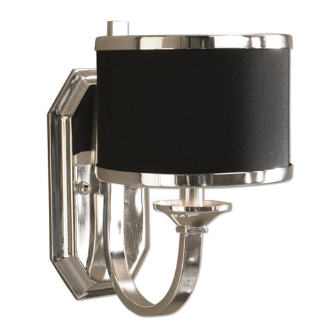 Uttermost Tuxedo Wall Sconce w/ Sleek Silver Arms