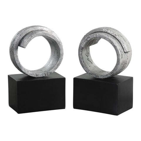 Uttermost Twist Modern Silver Bookends - Set of 2