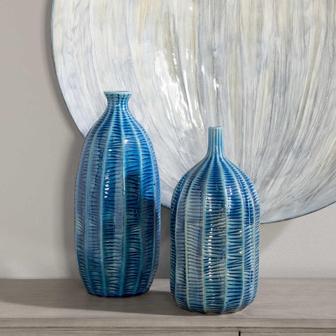 Uttermost Uttermost Bixby Blue Vases, Set of 2