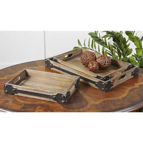 Uttermost Uttermost Fadia Natural Wood Trays, Set of 3