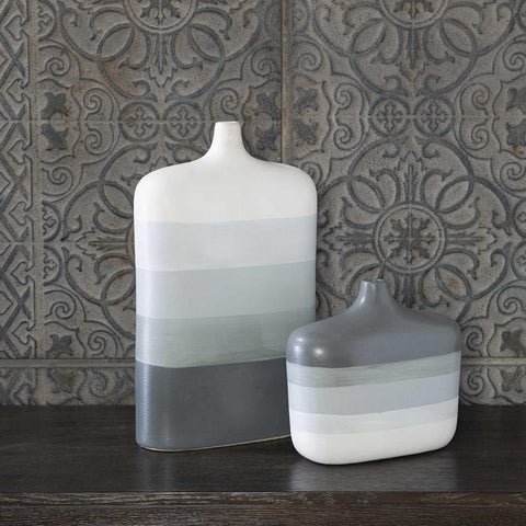 Uttermost Uttermost Guevara Striped Gray Vases, Set of 2