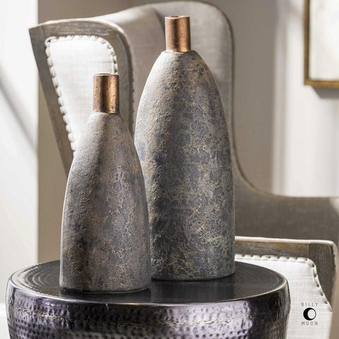 Uttermost Uttermost Kasen Charcoal Vases Set of 2