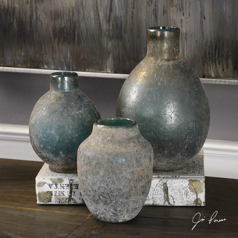 Uttermost Uttermost Mercede Weathered Blue-Green Vases Set of 3