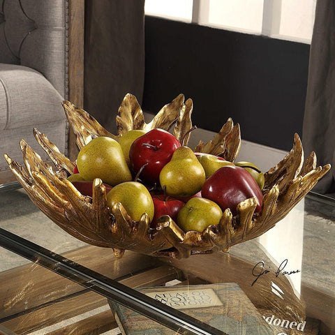 Uttermost Uttermost Oak Leaf Metallic Gold Bowl