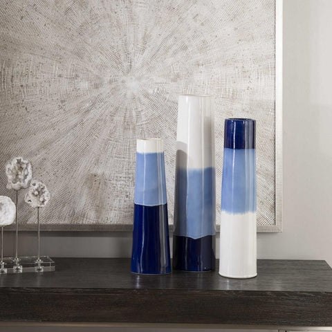 Uttermost Uttermost Sconset White & Blue Vases, Set of 3