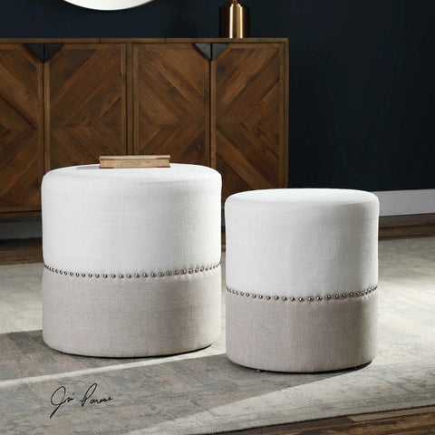 Uttermost Uttermost Tilda Two-Toned Nesting Ottomans Set of 2