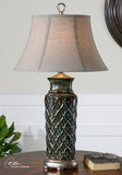 Uttermost Valenza Table Lamp w/ Oval Bell Shade in Oatmeal Linen