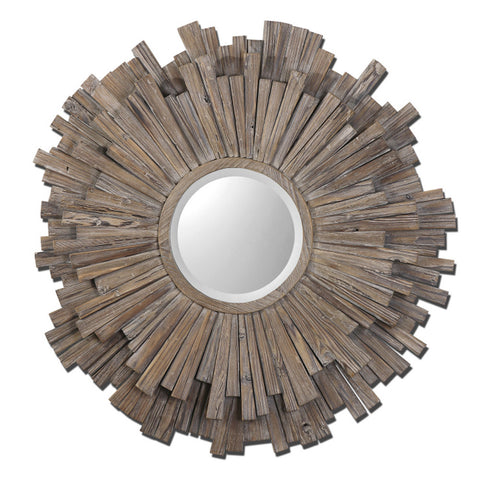 Uttermost Vermundo Round Decorative Wall Mirror in Walnut Stained